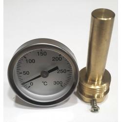 Termómetro para puerta de horno con vaina de 50 mm, escala 0ºC + 300ºC