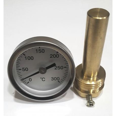 220414 Termómetro para puerta de horno con vaina de 50 mm, escala 0ºC + 300ºC
