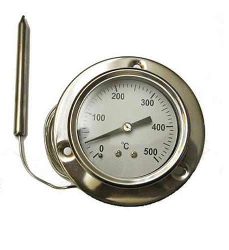 Term metro inoxidable redondo con bulbo y capilar de 1 60 - Termometros para hornos de lena ...