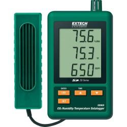 Medidor de C02, temperatura y humedad con descarga de datos.