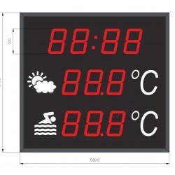 TH-BIG LEDHR Visualizador gran formato de temperatura ambiente, temperatura del agua y hora especial piscinas