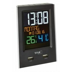 Reloj despertador con puertos USB TFA 60.2537.01