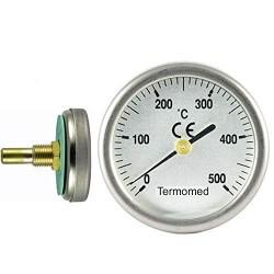 Termómetro para puerta de horno con vaina de 30 mm, escala 0ºC + 500ºC