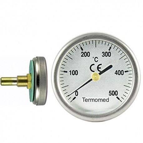220414-500 Termómetro para puerta de horno con vaina de 30 mm, escala 0ºC + 500ºC Termomed